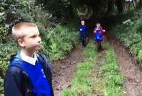 The video shows how the children cross the A30 by bridge and then walk along Grist Lane to the village of Angarrack before crossing over fields to Gwinear Lane